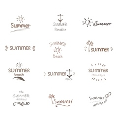 Hand drawn summer typography labels vector
