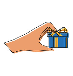 Hand holding gift box wrapped ribbon vector