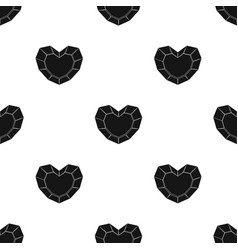 Heart-shaped gemstone icon in black style isolated vector