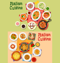 italian cuisine traditional dishes and salads vector image