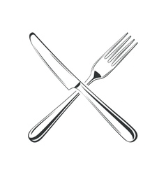 Knife and fork isolated on white background vector image vector image
