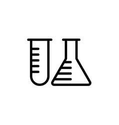 Line test tube icon on white background vector