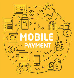 linear mobile payment vector image
