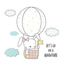 little bunny in a hot air balloon vector image vector image