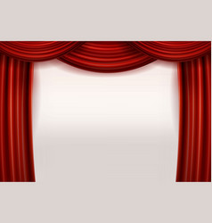 open red velvet movie curtains with white screen vector image vector image