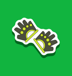 Paper sticker on stylish background gloves for vector