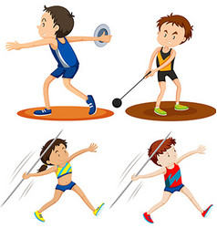 People doing track and field sports vector