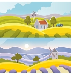 Rural landscape banner vector