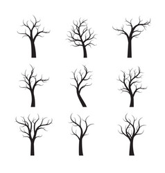 set black winter naked trees vector image vector image
