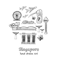 Set of singapore hand drawn icons vector