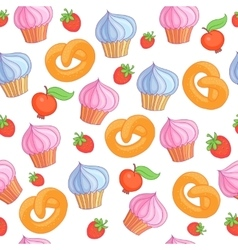 Sweet pattern cakes on white background seamless vector