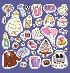 wedding cartoon icons vector image