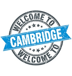 Welcome to cambridge blue round vintage stamp vector