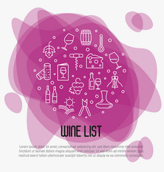 Wine list concept for bar or restaurant menu vector