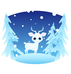 winter landscape with a deer vector image vector image