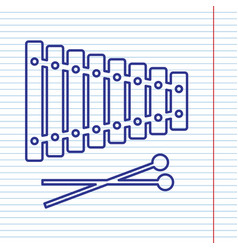 Xylophone sign navy line icon on notebook vector