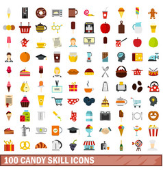 100 candy skill icons set flat style vector