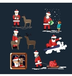 Santa clauses set for christmas vector