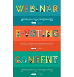 Set of ABC Internet Concepts in Flat Design vector image