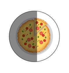 Delicious pizza fast food menu vector