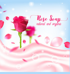 Rose natural organic soap poster vector