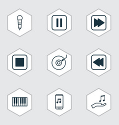 set of 9 audio icons includes stop button vector image