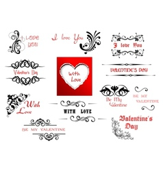 Valentines day holiday scripts and headers vector
