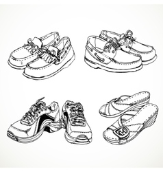 Sketch of shoes for men and women moccasins vector