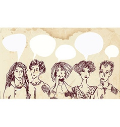 Banner with people and speech bubbles - hand drawn vector image