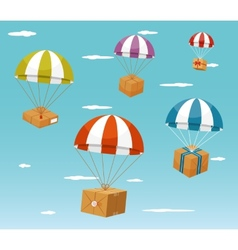 Delivery concept - gift boxes on parachute vector