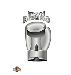 Iron boxing glove logo boxing club metal cup vector