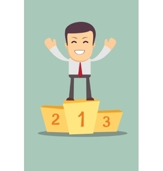 Businessman winner standing in first place on a vector