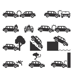 Car crash and accidents icon set vector