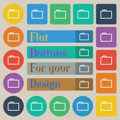 Folder icon sign set of twenty colored flat round vector