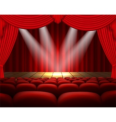 Theater stage with a red curtain and a spotlight vector