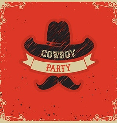 Cowboy party red background on red paper vector