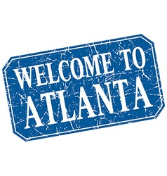 Welcome to atlanta blue square grunge stamp vector