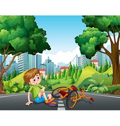 Boy falling off the bike on the street vector