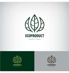 line leaves logo Eco natural organic vector image