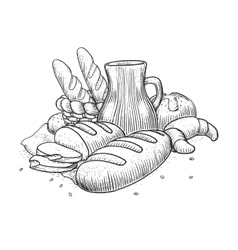 Bakery products still life vector