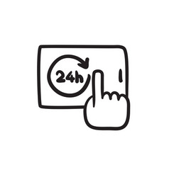 Available around the clock sketch icon vector