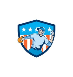 Baseball Pitcher Throwing Ball Shield Cartoon vector image vector image