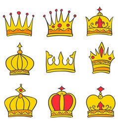 Beauty style crown elegant set vector