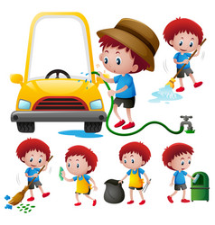 boy doing different types of chores vector image vector image