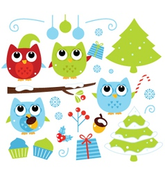 Christmas cartoon owls and decoration set isolated vector image vector image