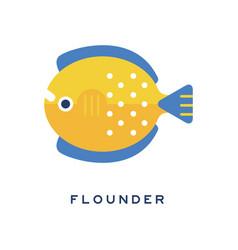 Flounder sea fish geometric flat style design vector