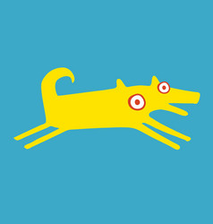 Funny yellow dog is running happily vector
