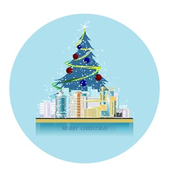 greeting card urban landscape with the christmas s vector image