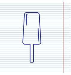 Ice cream sign navy line icon on notebook vector