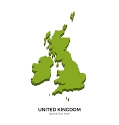 Isometric map of United Kingdom detailed vector image